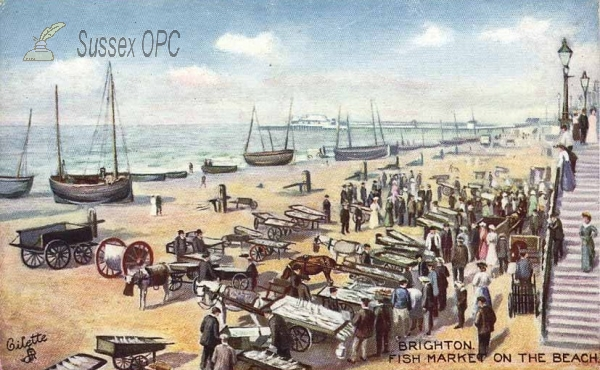 Image of Brighton - Fish market on the beach