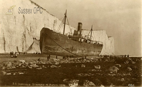 Eastbourne - Beachy Head - S S Eastfield ashore, 3 December 1909