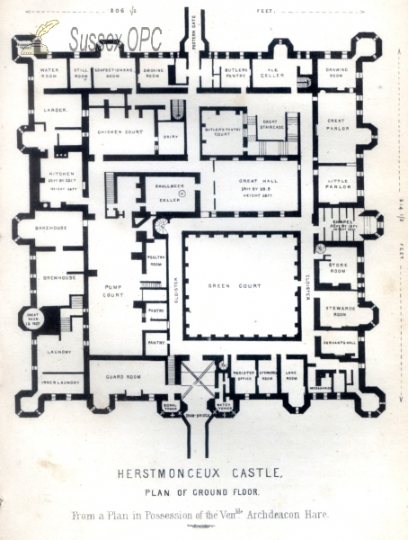 Herstmonceux - Ground Floor Plan of the Castle