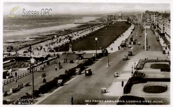 Hove - Sea front & lawns looking West