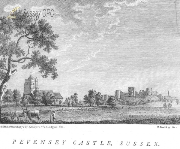 Pevensey - The Castle, Church and Westham Church c. 1772