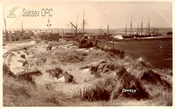 Camber - Showing the fishing boats and the tram line