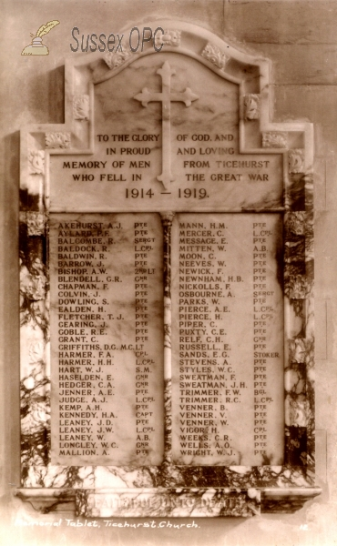 Ticehurst - St Mary's Church - Memorial Tablet