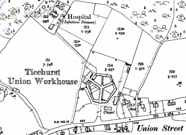 Flimwell - Map showing Ticehurst Union Workhouse, Union Street