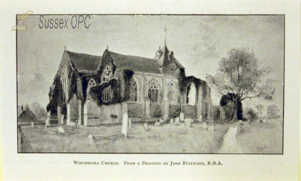 Image of Winchelsea - The church drawn by John Fullwood RBA