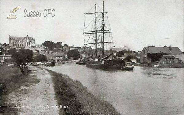 Arundel - View from the River with Ship