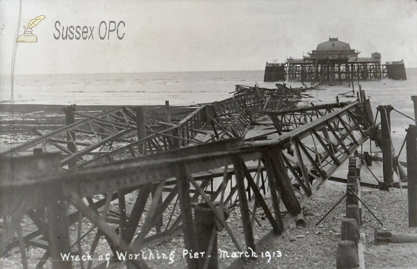Worthing - Wreck of the Pier, March 1913