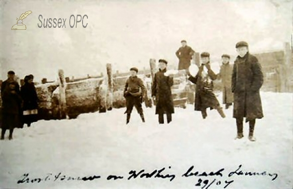 Worthing - Snow on the Beach (29th January 1907)