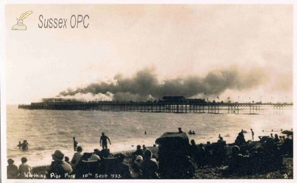 Worthing - Pier on fire, 10th September 1933