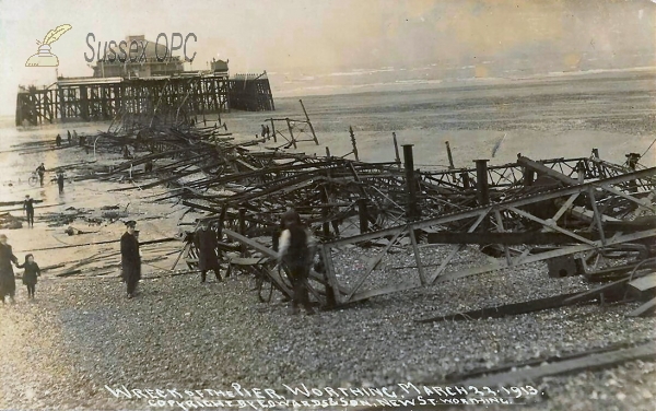 Worthing - Pier Wrecked - 23rd March 1913
