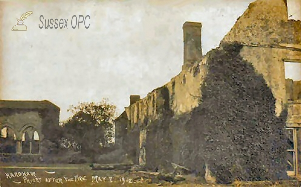Hardham - Hardham Priory after fire (7th May 1912)