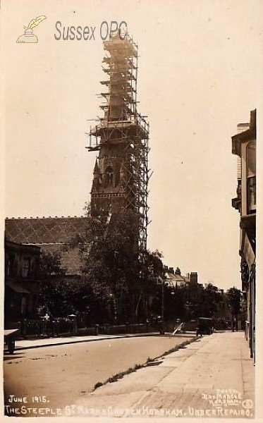 Horsham - St Mark's Church (Steeple under repair, June 1915)