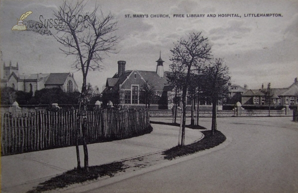 LIttlehampton - St Mary's Church, Library & Hospital