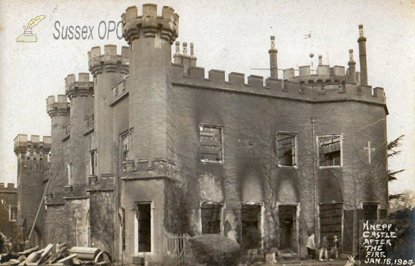 Shipley - Knepp Castle after the fire in 1904